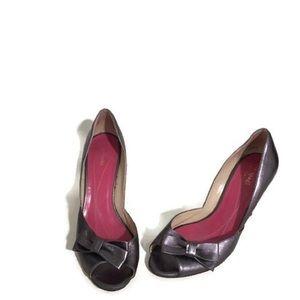 Kate Spade Gunmetal Peep Toe Bow Heels